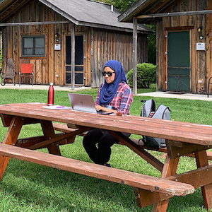 Working Solo at a Picnic Table
